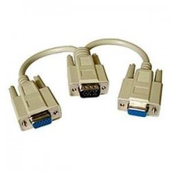 "C2G (Cables To Go) - 25246 - C2G 8in One HD15 VGA Male to Two HD15 VGA Female Y-Cable - HD-15 Male - HD-15 Female - 8"" - Beige"
