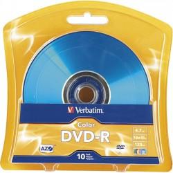 Verbatim / Smartdisk - 97513 - Verbatim AZO DVD-R 4.7GB 16X Vibrant Colors - 10pk Blister, Assorted - 120mm - 2 Hour Maximum Recording Time