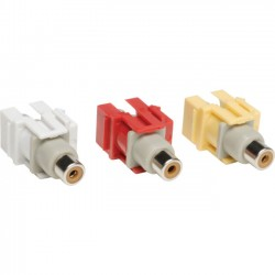 Tripp Lite - A020-000-KJ - Tripp Lite 3 Piece Composite Audio Video Keystone Jack, Snap-in Module Red Yellow White F/F - Modular insert (coupling) - RCA X 3 - white, yellow, red