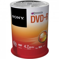 Sony - 100DMR47SP - Sony DVD Recordable Media - DVD-R - 16x - 4.70 GB - 100 Pack Spindle - 120mm - 2 Hour Maximum Recording Time