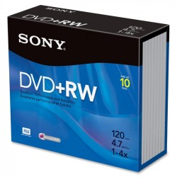 Sony - 10DPW47SS - Sony DVD Rewritable Media - DVD+RW - 4x - 4.70 GB - 10 Pack Slim Jewel Case - 120mm - 2 Hour Maximum Recording Time