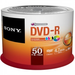 Sony - 50DMR47SB - Sony DVD Recordable Media - DVD-R - 16x - 4.70 GB - 50 Pack Spindle - Bulk - 120mm - 2 Hour Maximum Recording Time