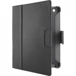 Belkin / Linksys - F8N756ttC00 - Belkin Cinema Leather Carrying Case (Folio) for iPad 2, The new iPad, iPad with Retina display - Blacktop, Cornerstone - Damage Resistant Interior - Genuine Leather