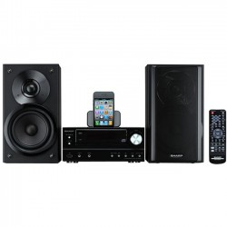 Sharp - XL-HF201P - Sharp XL-HF201P Micro Hi-Fi System - 100 W RMS - iPod Supported - Black - CD Player - FM, AM - 2 Speaker(s) - CD-DA, MP3, WMA - USB - Remote Control
