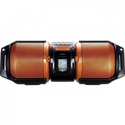 Sharp - GX-M10 - Sharp High-Power Portable Audio System with Dual Subwoofers - 1 x Disc - 100 W Integrated - Apple Dock Interface - Bronze - CD-DA, MP3, WMA - USB