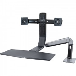 Ergotron - 24-312-026 - Ergotron WorkFit Mounting Arm for Flat Panel Display - 22 Screen Support - 25 lb Load Capacity - Aluminum - Polished Black