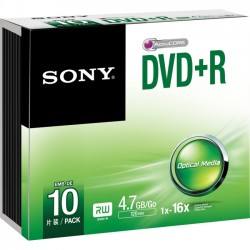Sony - 10DPR47SS - Sony DVD Recordable Media - DVD+R - 16x Slim Case - Retail