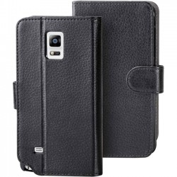 I-Blason - GALXY-NOTE4-LEATHERBOOK-DAL-BLK - i-Blason Carrying Case (Wallet) for Smartphone, ID Card, Credit Card - Black, Purple - Scratch Resistant - Synthetic Leather