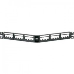 Panduit - UICMPPA24BLY - Panduit Mini-Com UICMPPA24BLY Blank Patch Panel - 24 Port(s) - 1U High - Black - 19 Wide - Rack-mountable