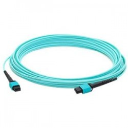 AddOn - ADD-MPOMPO-30M5OM3SM - AddOn 30m MPO (Male) to MPO (Male) 12-strand Aqua OM3 Straight Fiber OFNR (Riser-Rated) Patch Cable - 100% compatible and guaranteed to work