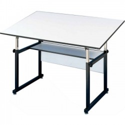 "Alvin & Company - WM60-3-XB - Alvin WorkMaster Table, Black Base White Top 37 1/2"" x 60"" - Rectangle Top - Post Leg Base - 4 Legs - 37.50"" Table Top Length x 60"" Table Top Width - Assembly Required - Gray"