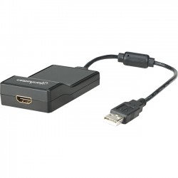 IC Intracom - 151061 - Manhattan USB 2.0 to HDMI Adapter, Black - Converts USB 2.0 to HDMI output