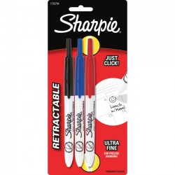 Rubbermaid - 1735794 - Sharpie Retractable Ultra Fine Point Permanent Marker - Ultra Fine Marker Point Type - Red, Blue, Black Ink - 3 / Pack