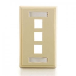 C2G (Cables To Go) - 03712 - C2G 3-Port Single Gang Multimedia Keystone Wall Plate - Ivory - 3 x Socket(s) - Ivory
