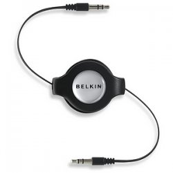 Belkin / Linksys - F3X1980-4.5-BLK - Belkin Retractable Mini-Stereo Cable - Mini-phone - Mini-phone - 4.5ft - Black