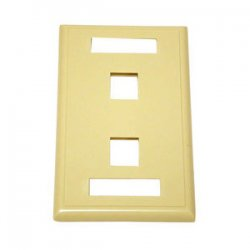 C2G (Cables To Go) - 03711 - C2G 2-Port Single Gang Multimedia Keystone Wall Plate - Ivory - 2 x Socket(s) - Ivory