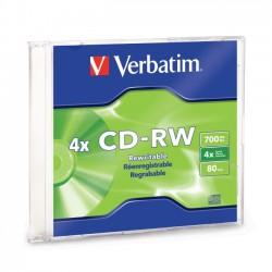 Verbatim / Smartdisk - 95117 - Verbatim CD-RW 700MB 2X-4X with Branded Surface - 1pk Slim Case