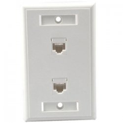 C2G (Cables To Go) / Legrand - 27416 - C2G Dual Cat5E RJ45 Configured Wall Plate - White - 2 x Socket(s) - RJ-45 - White