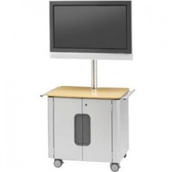 Bretford - FPPC72V200-PMMP - Bretford FPPC72V200-PMMP Flat Panel Cart - 100 lb Capacity - Steel - Platinum, Maple