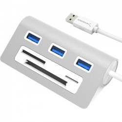 Sabrent - HB-MACR-PK40 - Sabrent 3 Port Aluminum USB 3.0 Hub with Multi-In-1 Card Reader (12 Cable) - USB - External - 3 USB Port(s) - 3 USB 3.0 Port(s) - PC, Mac, Linux