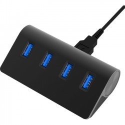 Sabrent - HB-MC3B-PK40 - Sabrent 4 Port Aluminum USB 3.0 Hub (30 cable)   Black - USB - External - 4 USB Port(s) - 4 USB 3.0 Port(s) - PC, Mac, Linux