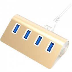 Sabrent - HB-MC3G-PK40 - Sabrent 4 Port Aluminum USB 3.0 Hub (30 cable)   Gold - USB - External - 4 USB Port(s) - 4 USB 3.0 Port(s) - PC, Mac, Linux