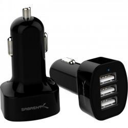 Sabrent - TL-UCL3-PK50 - Sabrent 3-Port USB Car Charger - 26 W Output Power - 12 V DC, 24 V DC Input Voltage - 5 V DC Output Voltage - 5.10 A Output Current - USB