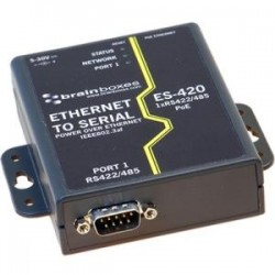 Brainboxes - ES-420 - Brainboxes ES-420 PoE Ethernet to Serial Device Server - 1 x Serial Port - Fast Ethernet - Rail-mountable