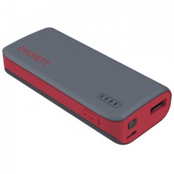 Cygnett - CY1421PBCUS - Cygnett ChargeUp Sport 4400 - Grey & Red - For Smartphone - Lithium Ion (Li-Ion) - 4400 mAh - 1 A - 5 V DC Output - 5 V DC Input - Gray, Red
