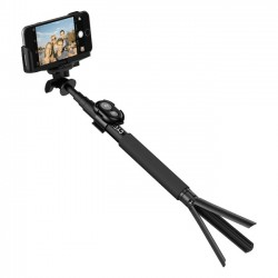 Cygnett - CY1735UNSES - Cygnett GoStick Bluetooth Camera Selfie Stick & Tripod - 24 Height - Black