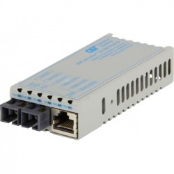 Omnitron - 1102D-0-01 - miConverter PoE/PD 10/100 Ethernet Fiber Media Converter RJ45 SC Multimode 5km - 1 x 10/100BASE-TX, 1 x 100BASE-FX, US AC & PoE Powered, Lifetime Warranty