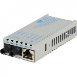 Omnitron - 1101D-1-01 - miConverter PoE/PD 10/100 Ethernet Fiber Media Converter RJ45 ST Single-Mode 30km - 1 x 10/100BASE-TX, 1 x 100BASE-LX, US AC & PoE Powered, Lifetime Warranty