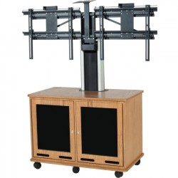 Da-Lite - 39977CHL - Da-Lite Video Conferencing Equipment Rack Cart - Dual - 250 lb Load Capacity - Floor - Cherry Laminate