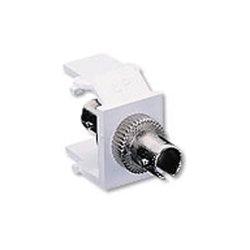 Leviton - 41084SIF - Leviton QuickPort ST Thread-Lock Fiber Optic Adapter - 1 x ST Network - 1 x ST Network
