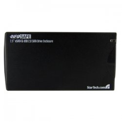 StarTech - SAT2510BU2E - StarTech.com 2.5in Black eSATA USB External Hard Drive Enclosure for SATA HDD - 1 x 2.5 - 9.5 mm Height Internal - Serial ATA