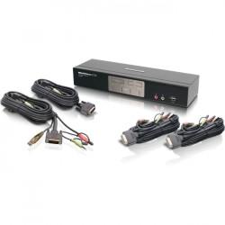 IOGear - GCS1204DPKIT - IOGEAR 4-Port Dual-Link DVI and DisplayPort KVMP Kit with 2.1 Audio (TAA Compliant) - 4 Computer(s) - 1 Local User(s) - 3840 x 2160 - 8 x USB - 5 x DVI - TAA Compliant