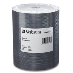 Verbatim / Smartdisk - 97017 - Verbatim DVD-R 4.7GB 16X DataLifePlus Shiny Silver Silk Screen Printable - 100pk Tape Wrap