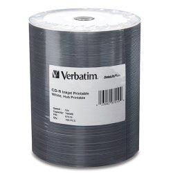 Verbatim / Smartdisk - 97019 - Verbatim CD-R 700MB 52X White Inkjet Printable, Hub Printable - 100pk Tape Wrap - 700MB - 120mm Standard - 100 Pack