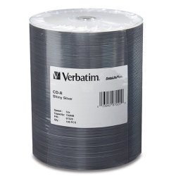 Verbatim / Smartdisk - 97020 - Verbatim CD-R 700MB 52X DataLifePlus Shiny Silver Silk Screen Printable - 100pk Tape Wrap Spindle - Printable - Silk-screen Printable