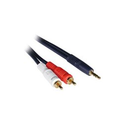 C2G (Cables To Go) - 40615 - C2G 12ft Velocity One 3.5mm Stereo Male to Two RCA Stereo Male Y-Cable - Mini-phone Male - RCA Male - 12ft - Blue
