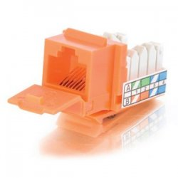 C2G (Cables To Go) - 35205 - C2G 90° Cat5E RJ45 UTP Keystone Jack - Orange - RJ-45, 110-punchdown