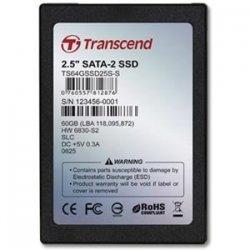 """Transcend - TS64GSSD25S-M - Transcend 64 GB 2.5"""" Internal Solid State Drive - SATA - 123 MB/s Maximum Read Transfer Rate - 60 MB/s Maximum Write Transfer Rate"""