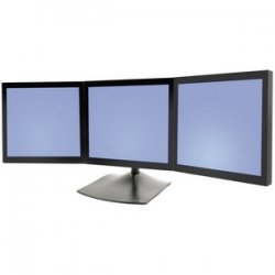Ergotron - 33-323-200 - Ergotron DS100 Triple-Monitor Desk Stand - Up to 93lb - Up to 21 Flat Panel Display - Black