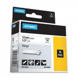 "DYMO - 18444 - Dymo Rhino Industrial Vinyl Labels - Permanent Adhesive - 0.47"" Width x 18.04 ft Length - Rectangle - Thermal Transfer - White, Black - Vinyl - 1 Each"
