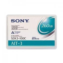 Sony - SDX3100C - Sony SDX3-100C AIT-3 Data Cartridge - AIT-3 - 100 GB (Native) / 260 GB (Compressed) - 754.59 ft Tape Length - 1 Pack
