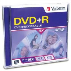 Verbatim / Smartdisk - 94916 - Verbatim DVD+R 4.7GB 16X with Branded Surface - 1pk Jewel Case - 2 Hour Maximum Recording Time