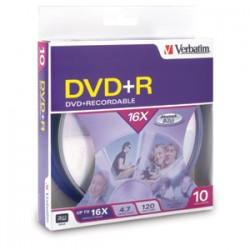 Verbatim / Smartdisk - 95032 - Verbatim AZO DVD+R 4.7GB 16X with Branded Surface - 10pk Spindle Box - 4.7GB - 10 Pack