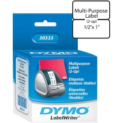 "DYMO - 30333 - Dymo White Label - 0.5"" x 1"" - 1 x Roll, 1000 x Label"