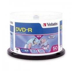 Verbatim / Smartdisk - 95078 - Verbatim DVD-R 4.7GB 16X DataLifePlus White Inkjet Printable - 50pk Spindle - 4.7GB - 50pk Spindle
