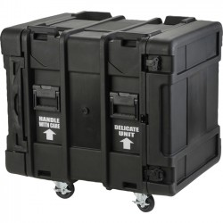 "SKB Cases - 3SKB-R914U24 - SKB 24"" Deep 14U Roto Shock Rack - External Dimensions: 27.5"" Width x 36.8"" Depth x 34.5"" Height - Hinged, Key Latch Closure - Stackable - Steel - Black"